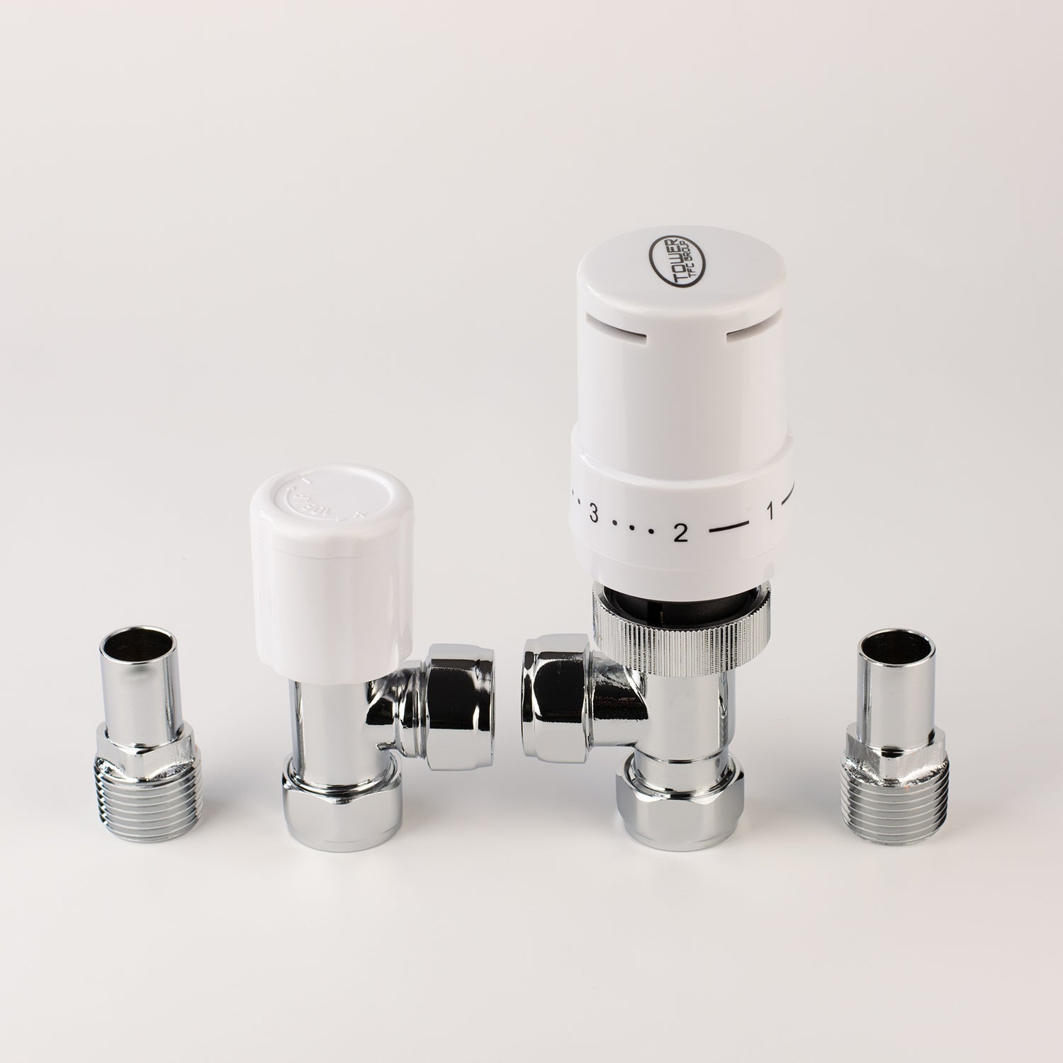 White Thermostatic TRV Angled Valve For Heated Towel Rail Radiator With Lockshield