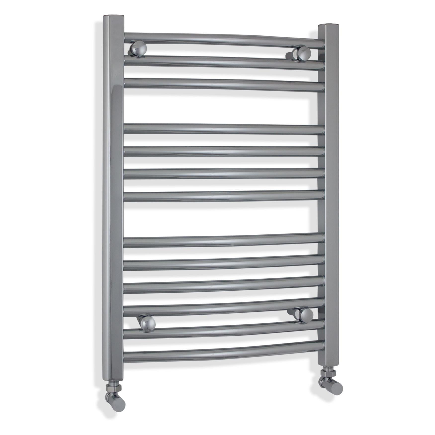 500mm Wide 700mm High Chrome Towel Rail Radiator With Angled Valve