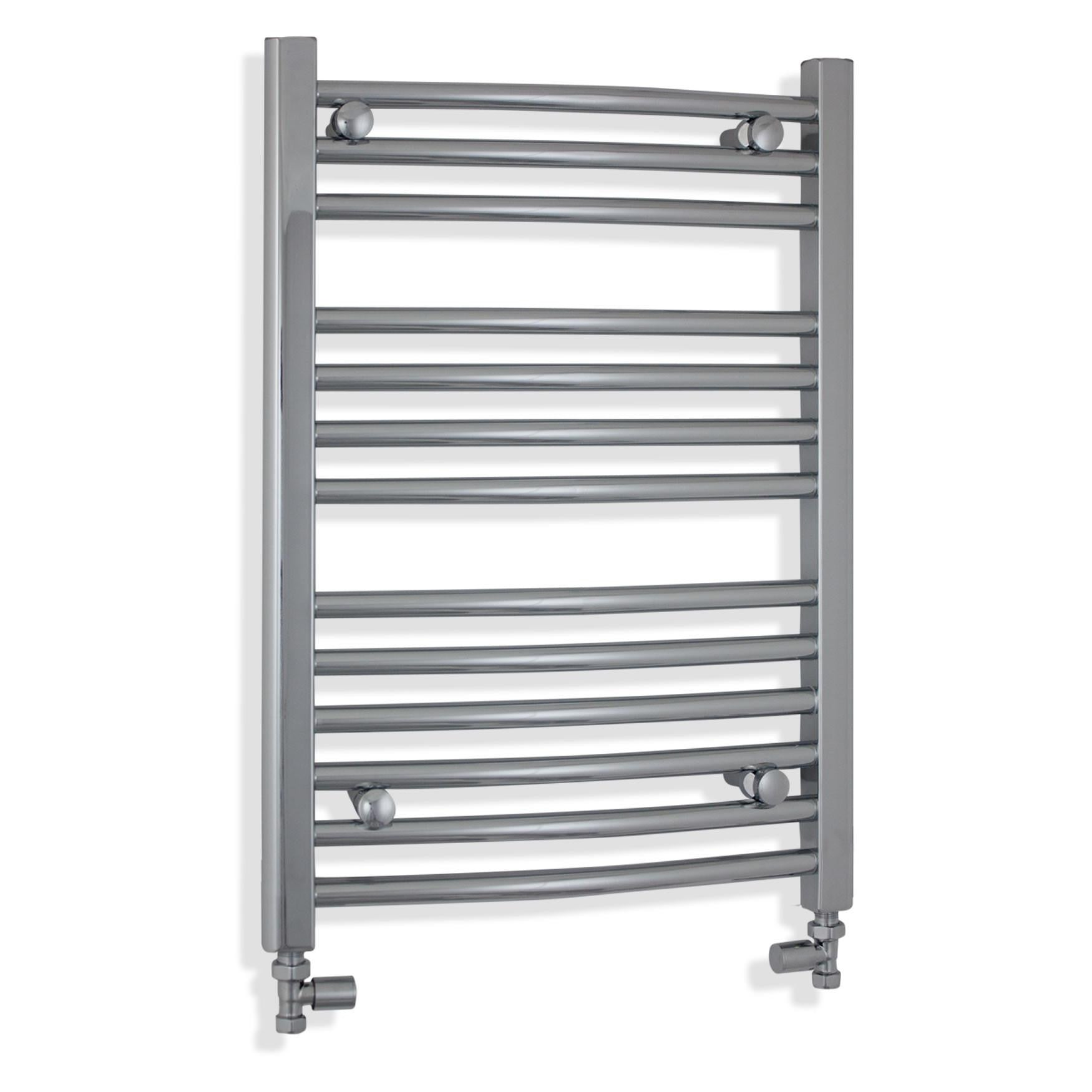 500mm Wide 700mm High Chrome Towel Rail Radiator With Straight Valve