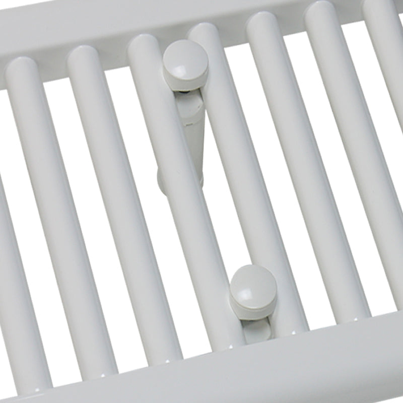 Electric Heated White Towel Rail Thermostatic Close Up Image
