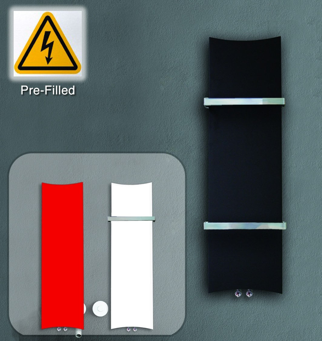 300mm Wide Black Designer Electric Heated Towel Rail: Prefilled Electric Designer Bone Style 1200 Mm High X 300