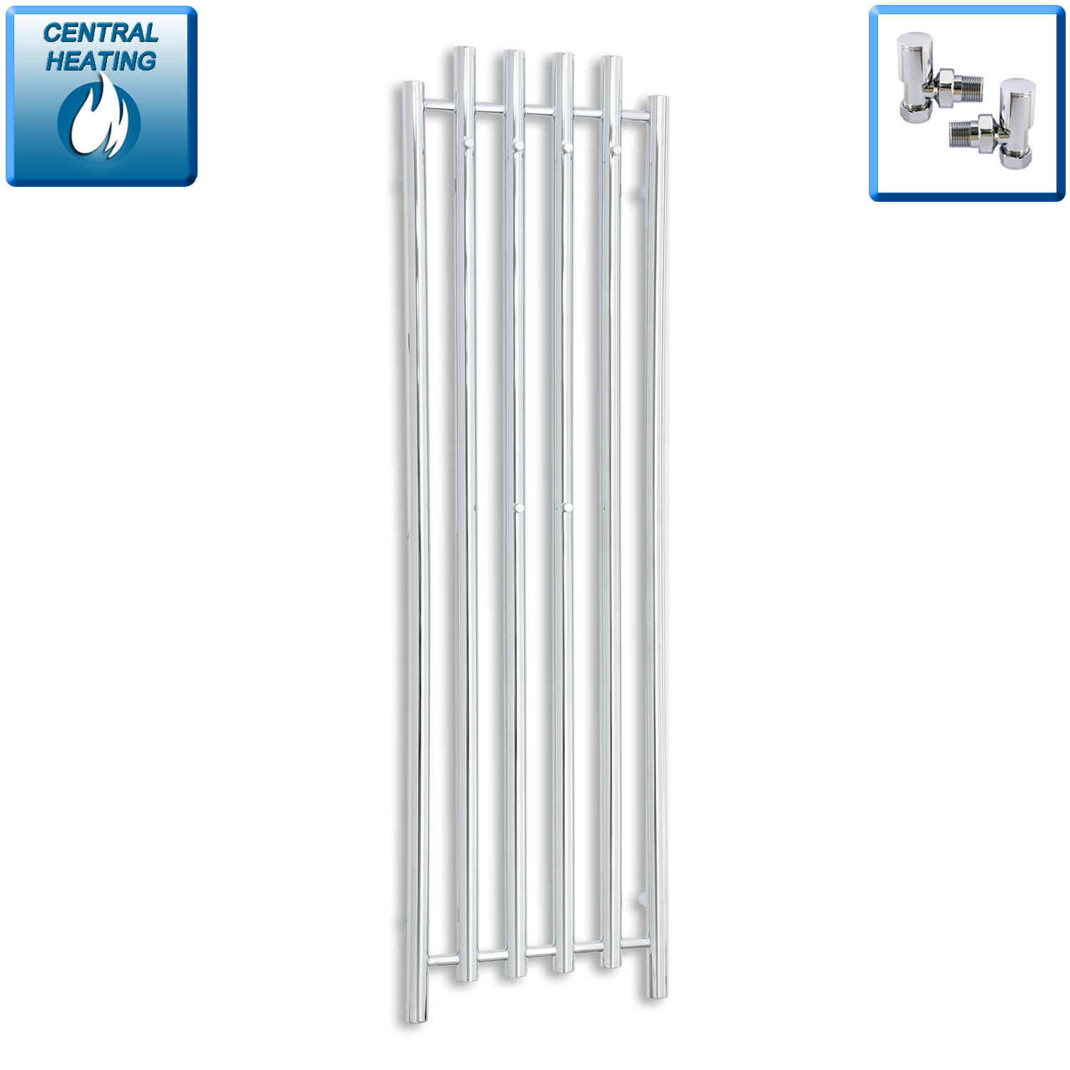 450mm Wide 1600mm High Chrome Towel Rail Radiator With Angled Valve