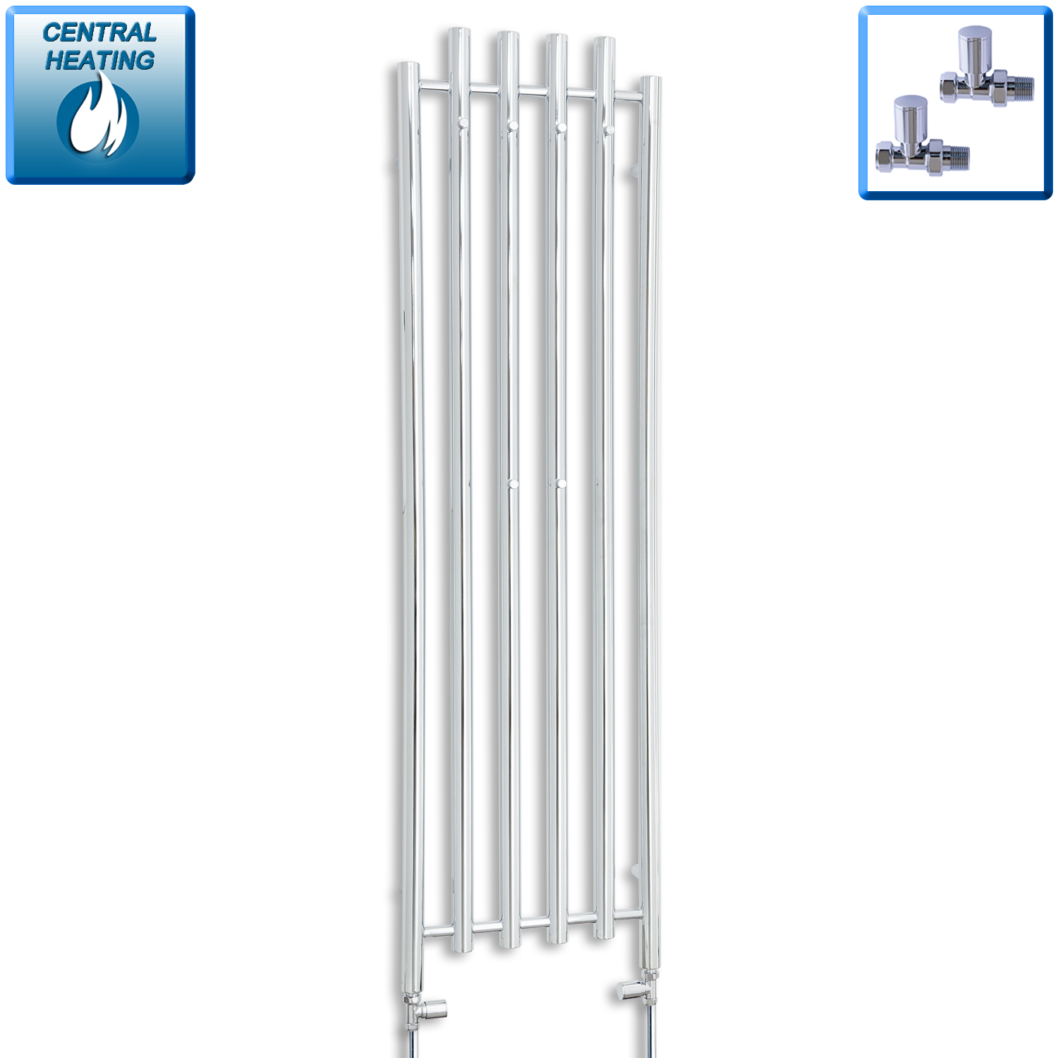 450mm Wide 1600mm High Chrome Towel Rail Radiator With Straight Valve
