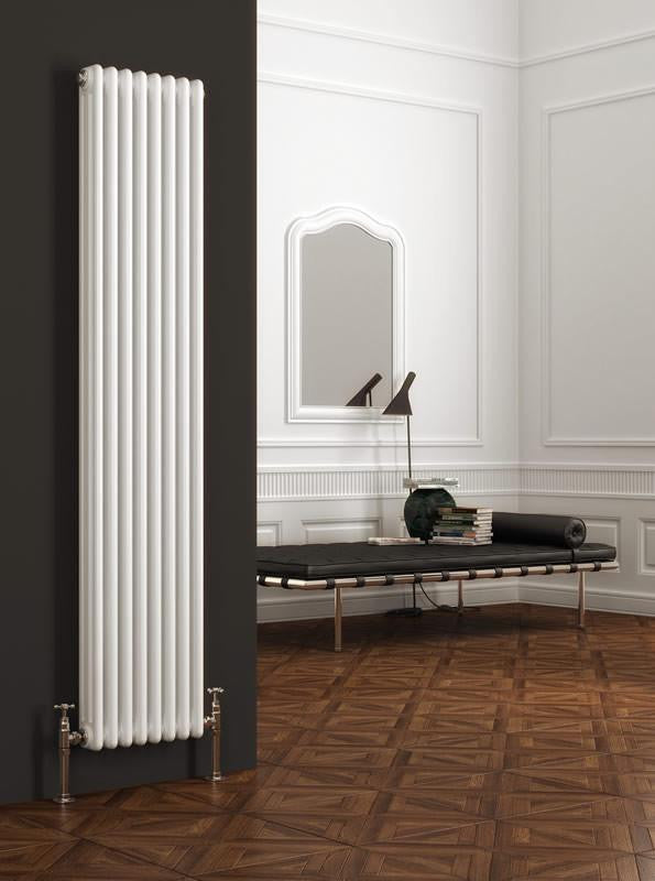 Reina Designer White Colona Traditional Column Vertical Radiator - Elegant Radiators