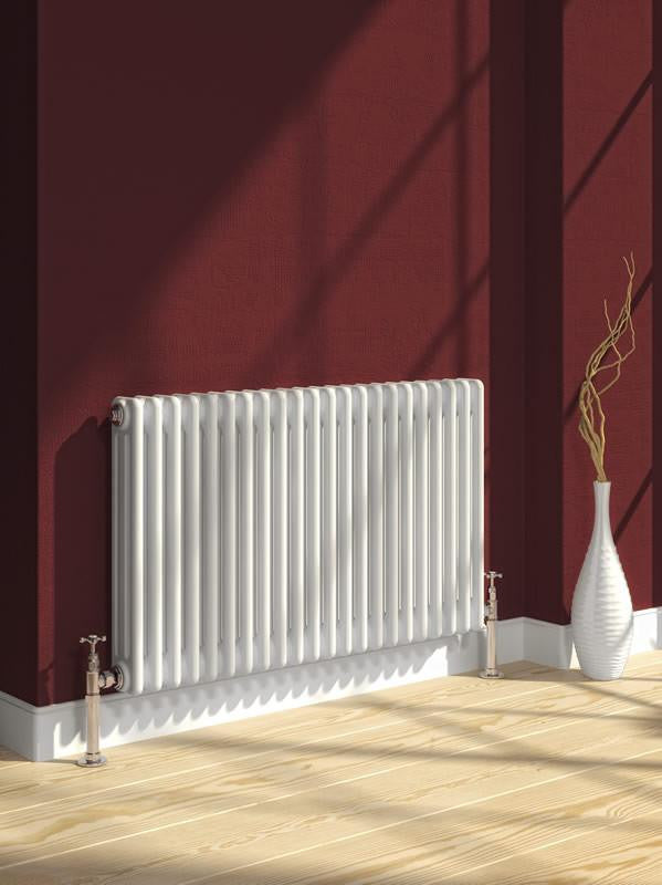 Reina Designer White Colona Traditional Column Horizontal Radiator - Elegant Radiators