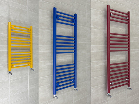 500 Mm Wide Designer Heated Towel Rail Radiator Red, Blue Or Yellow
