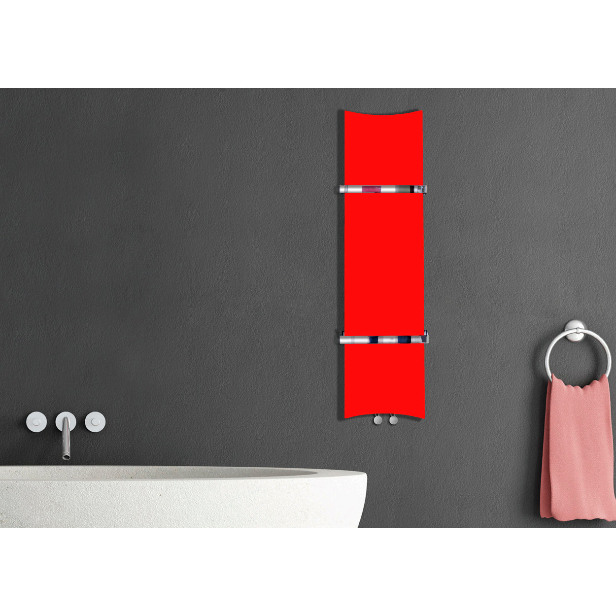 Designer Bone Style 1200 mm High x 300 mm Wide Heated Towel Rail Radiator Red - Elegant Radiators