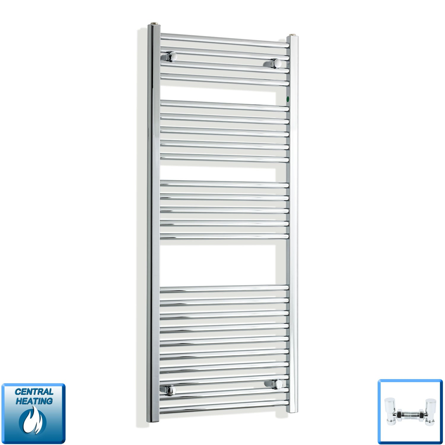 550mm Wide 1300mm High Chrome Towel Rail Radiator With Angled Valve