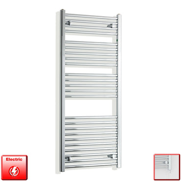 450mm Wide 1300mm High Pre-Filled Chrome Electric Towel Rail Radiator With Single Heat Element