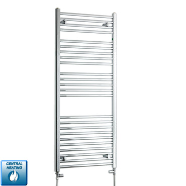 550mm Wide 1300mm High Chrome Towel Rail Radiator With Straight Valve