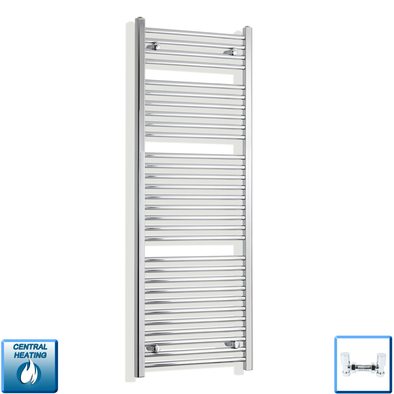 550mm Wide 1500mm High Chrome Towel Rail Radiator With Angled Valve