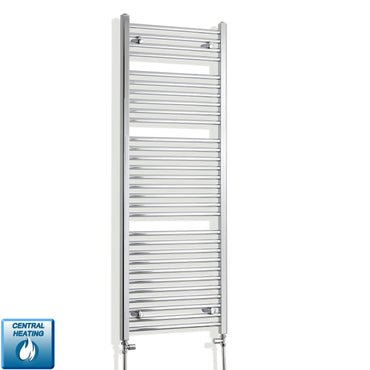 550mm Wide 1500mm High Chrome Towel Rail Radiator With Straight Valve