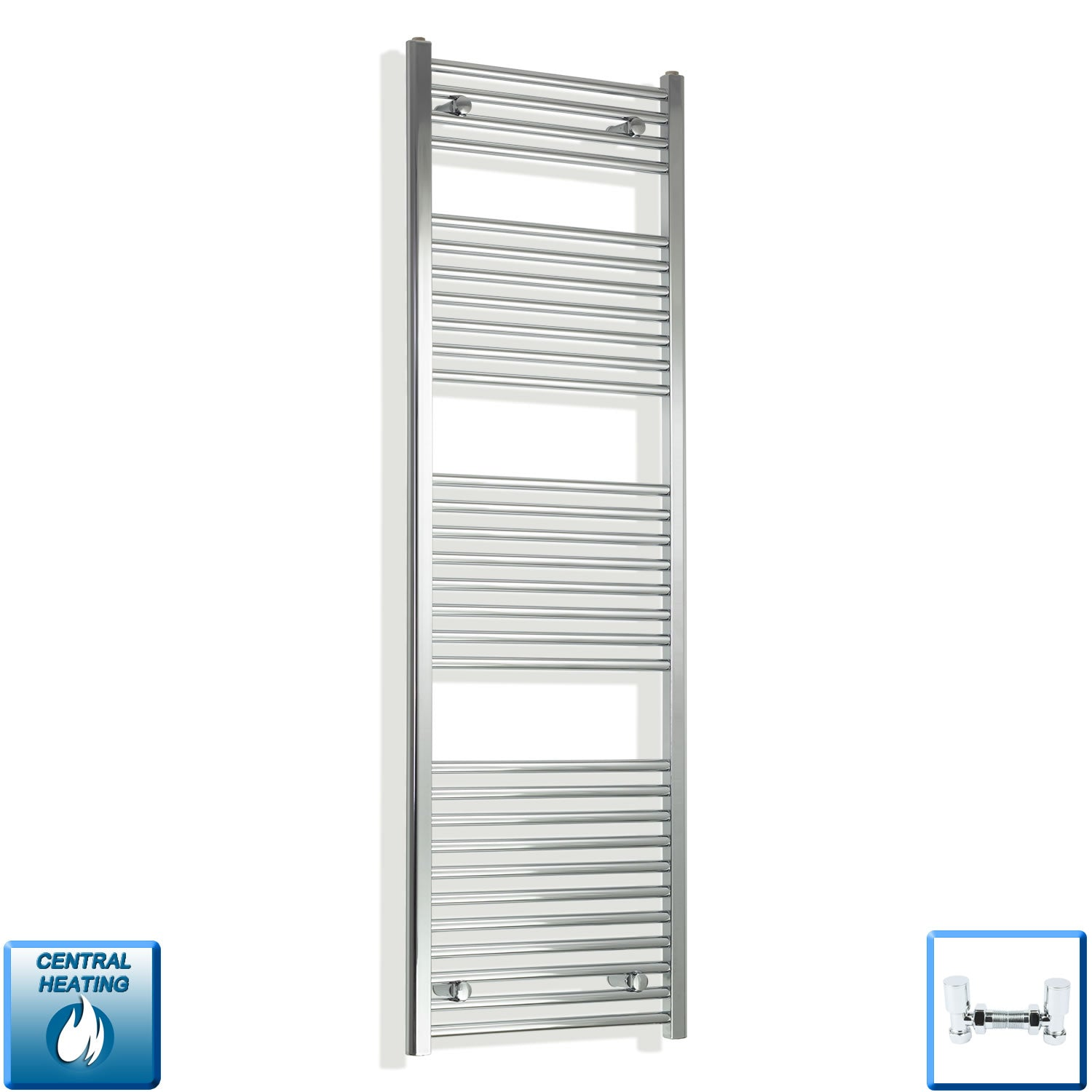 450mm Wide 1700mm High Chrome Towel Rail Radiator With Angled Valve