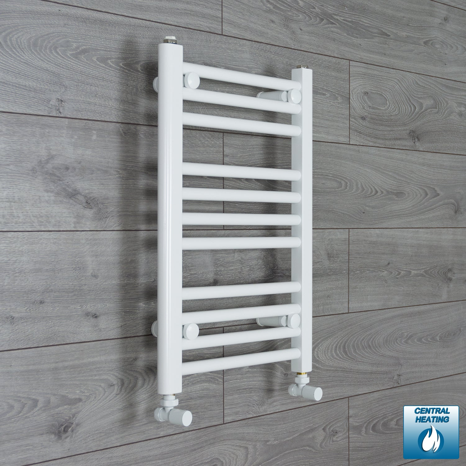 350mm Wide 600mm High White Towel Rail Radiator With Angled Valve