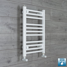 Load image into Gallery viewer, 400mm Wide 600mm High White Towel Rail Radiator With Angled Valve