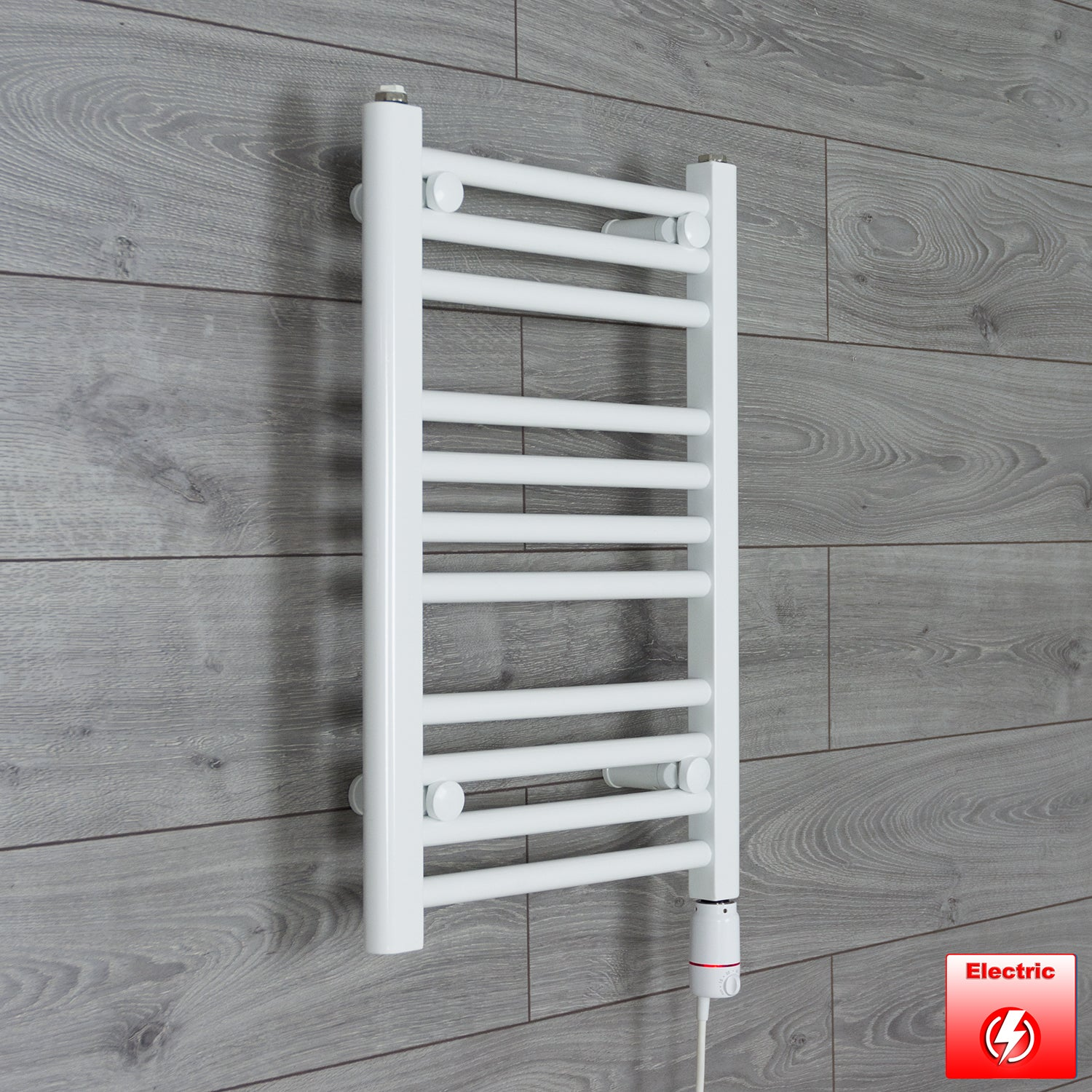 500mm Wide 600mm High Pre-Filled White Electric Towel Rail Radiator With Thermostatic GT Element