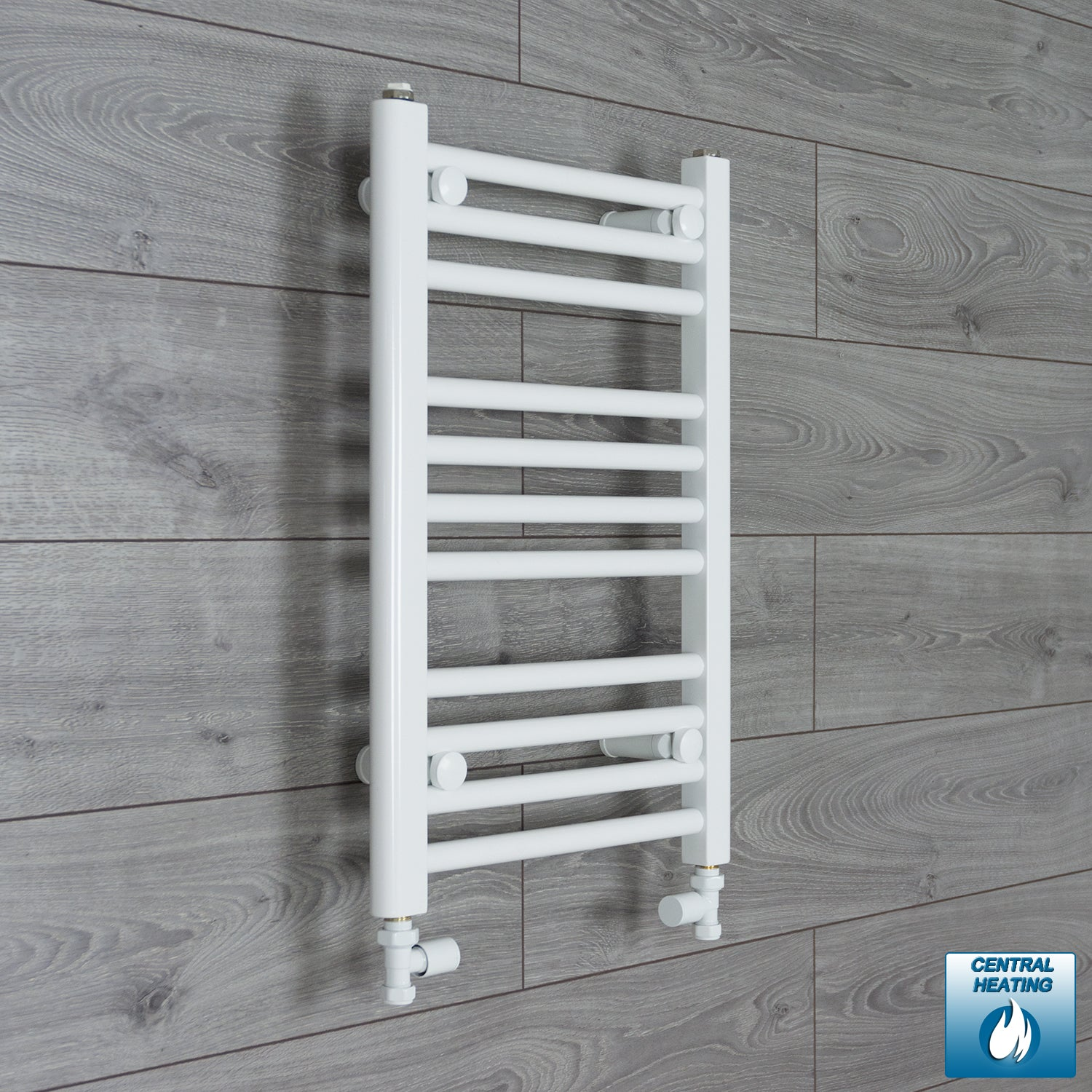 350mm Wide 600mm High White Towel Rail Radiator With Straight Valve