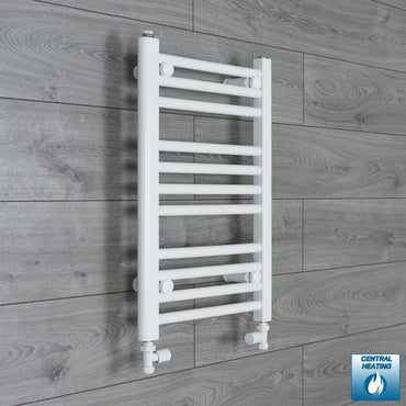 400mm Wide 600mm High White Towel Rail Radiator With Straight Valve