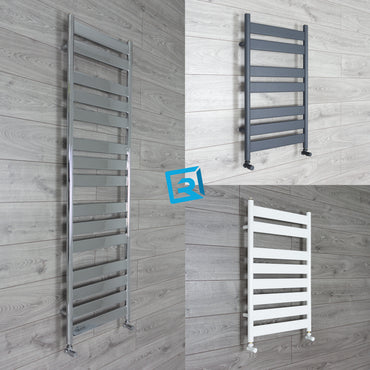 500mm Wide Flat Panel Heated Towel Rail Bathroom Radiator- Anthracite - White - Chrome