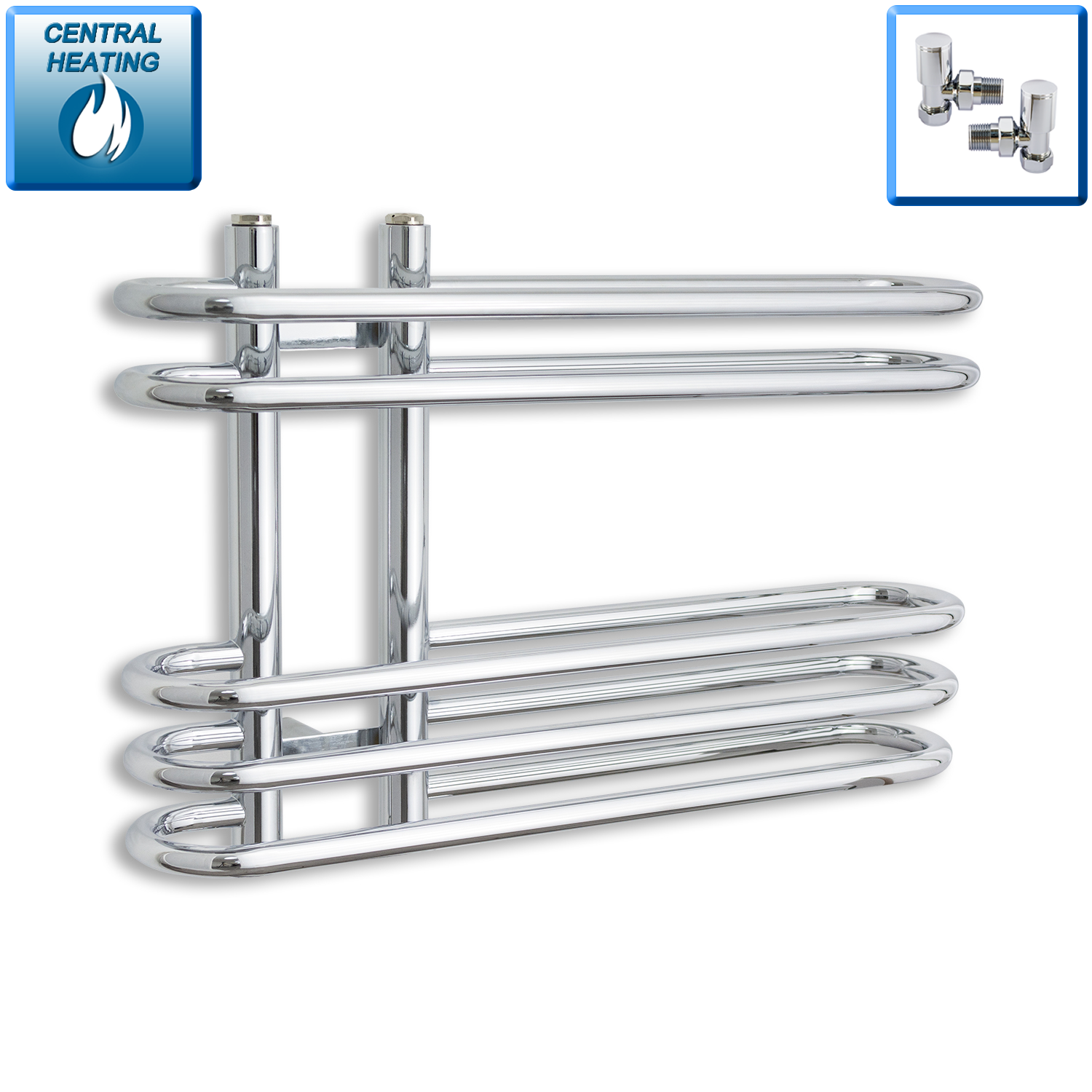 Salina 400 mm High x 600 mm Wide Designer Heated Chrome Towel Rail Radiator Central Heating