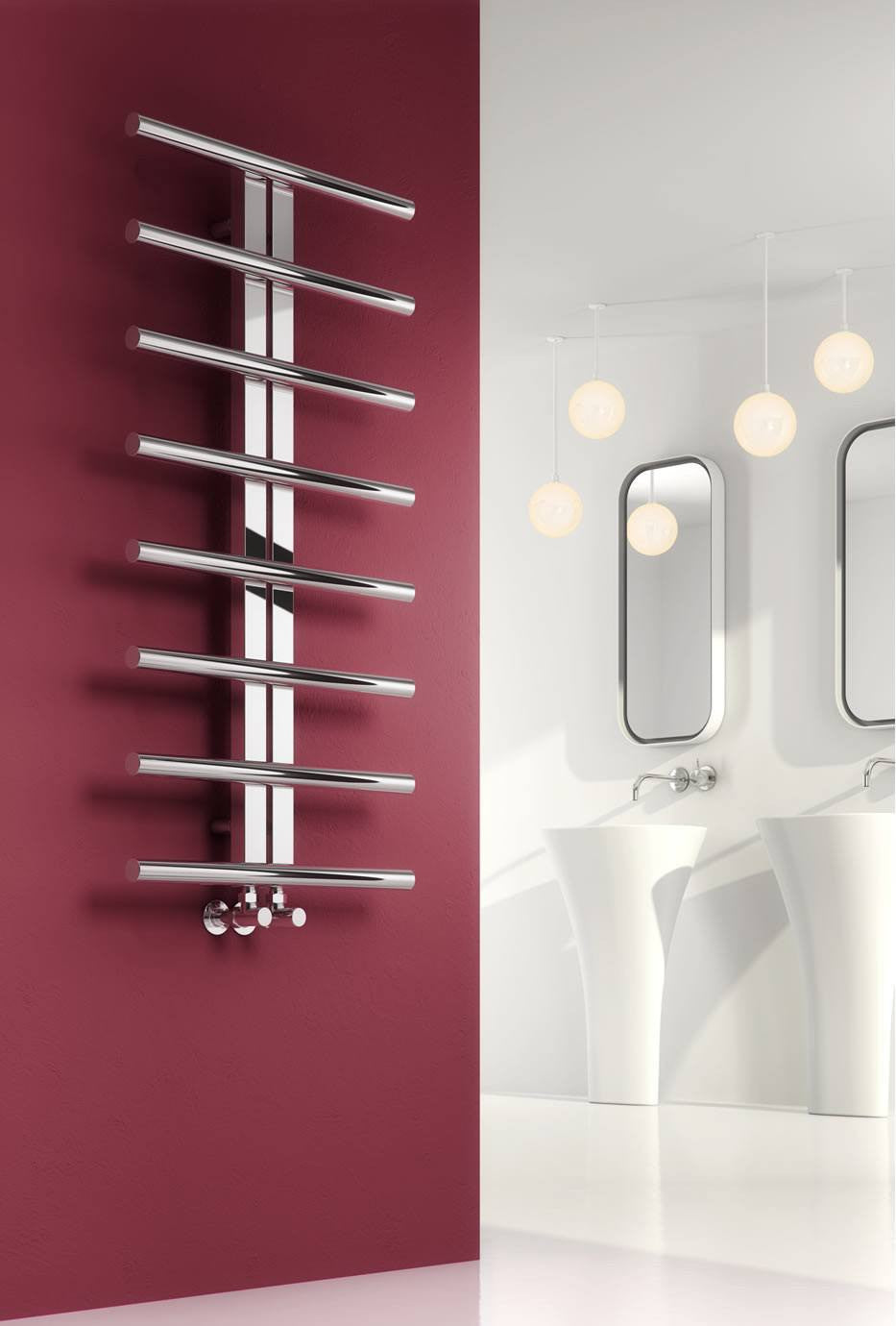 Reina Designer Pizzo Vertical Heated Towel Rail Stainless Steel Radiator
