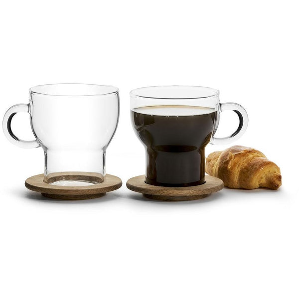 Glass mug with oak coaster2 -pack