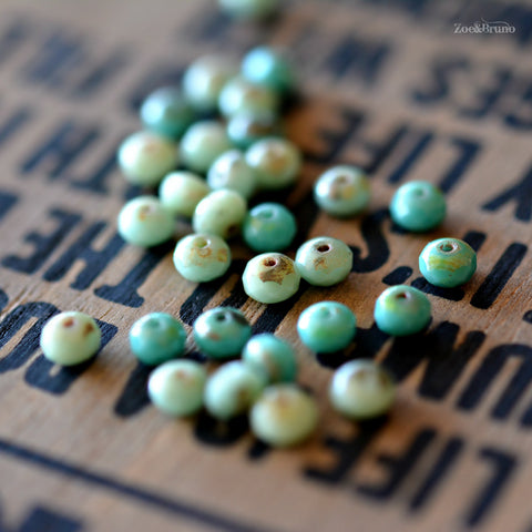 30 Baby Tears - Premium Czech Glass, Opaque Turquoise, Picasso Finish, Rondelle Bead Mix 5x3mm