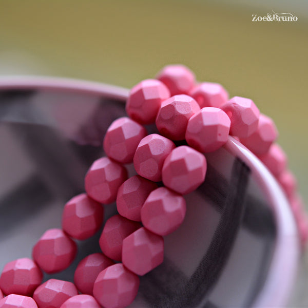 25 Pink Panther - Premium Czech Glass, Saturated Pink, Fire-Polish Round Beads 6mm