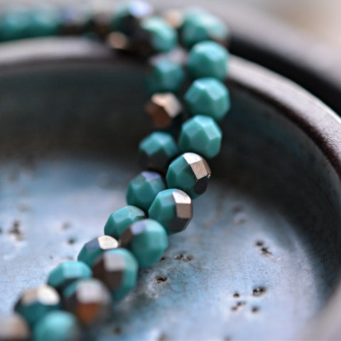 25 Sparkle + Joy - Premium Czech Glass, Matte Turquoise, Apollo Finish, Fire-Polish Round Beads 6mm
