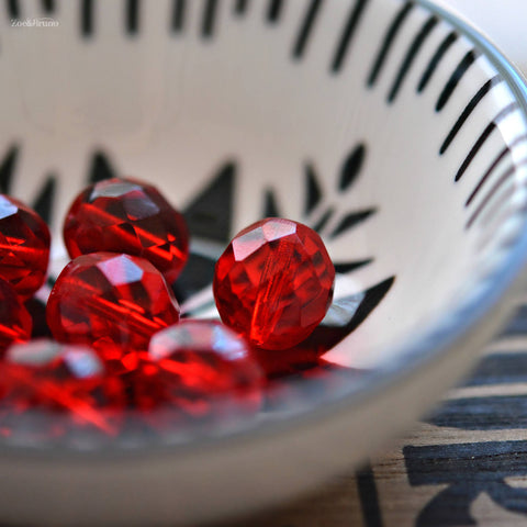 4 Ripe For The Picking - Premium Czech Glass, Transparent Siam Ruby, Facet Firepolish Round Beads 12mm