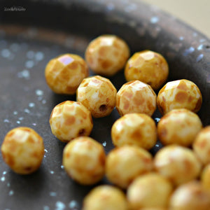10 Popping Corn - Premium Czech Glass, Opaque White, Speckled Picasso Finish, Facet Firepolish Round Beads 8mm