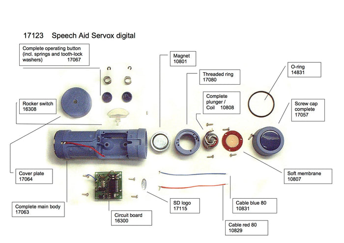 SERVOX DIGITAL SPEECH AID (PREV MODEL) SPARE PARTS AND ACCESSORIES