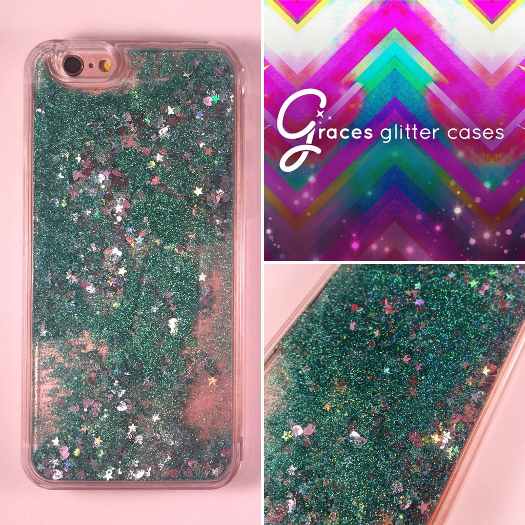 lower price with 742a4 b6c51 Turquoise, Purple and Silver Hearts and Stars Liquid moving glitter iPhone  6+ 6 plus, 6, 6s quicksand sand glitteriphone case iphone case