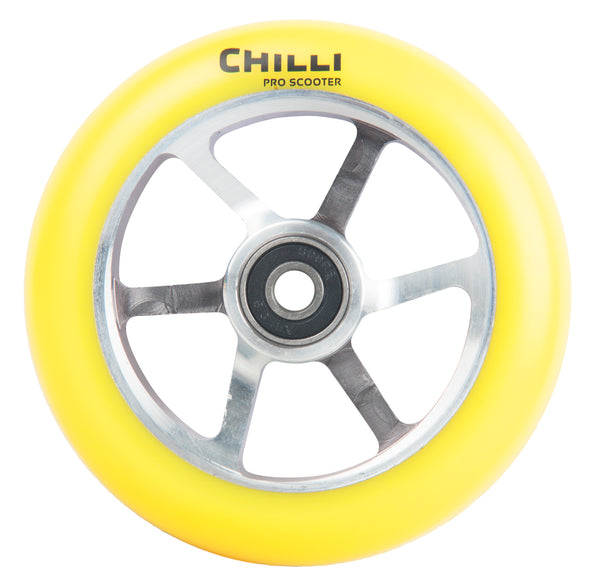Chilli 6-Spoked Wheel 110mm Yellow/Silver