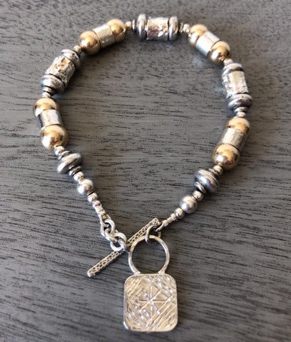 Handmade Silver and Gold Bracelet with Square Lock
