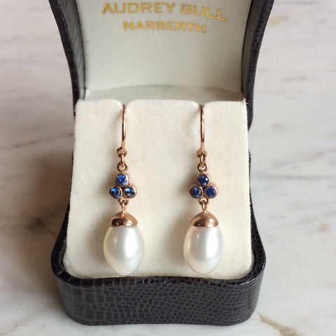 Sapphire and Pearl Drop Earrings