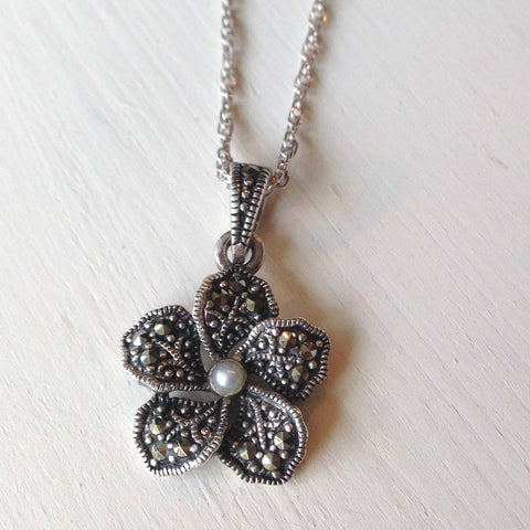 Marcasite Flower Necklace