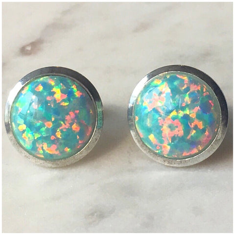 Silver and Green Opal Studs 10mm