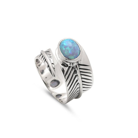 Opal Feather Adjustable Ring