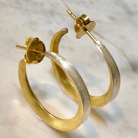 Two tone silver and gold hoops