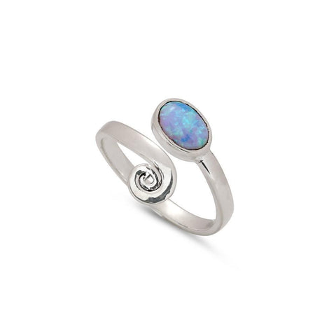 Spiral Opal Silver Ring