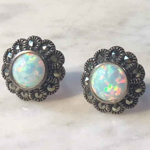 Opal and Marcasite Studs