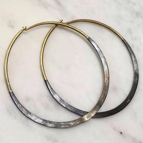 Gold Vermeil and Oxidised Silver hoops