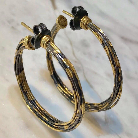 Two tone twist hoop earrings