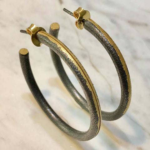 Gold and Oxidised silver hoops