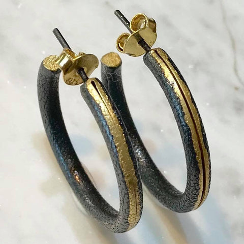 Textured gold and Oxidised silver hoops