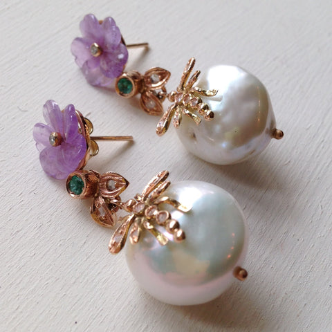 Baroque Pearl with carved Amethyst, Emerald and Diamond Drop Earrings