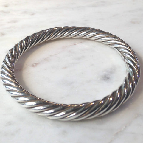 Heavy Twisted Silver Bangle