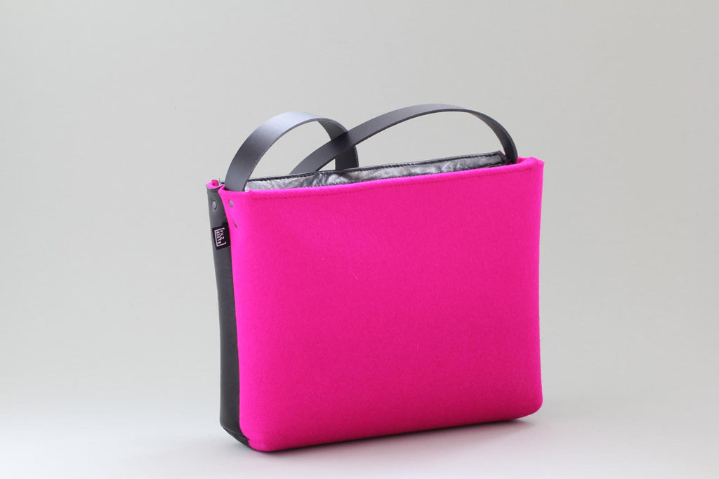 beautiful felt bag with leather