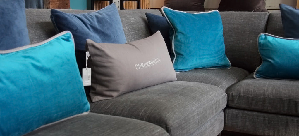 Velvet Cushions on Grey Corner Sofa at Blue Home